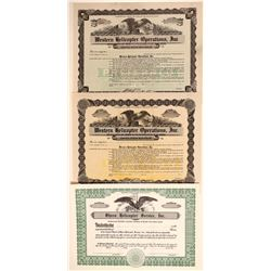 Three Helicopter Stock Certificates  106747