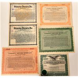 US Automobile Stock Certificate Group  107550
