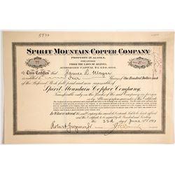 Spirit Mountain Copper Company Stock Certificate  62857
