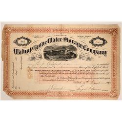 Walnut Grove Water Storage Company Stock Certificate  107592