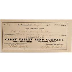 Capay Valley Land Company Stock  105910