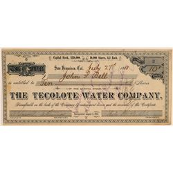 Tecolote Water Company Stock Certificate  106905