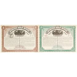 Two Rebecca Gold Mining Company Stock Certificates  62808