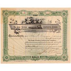 Great Western Construction Company Stock Certificate  106891