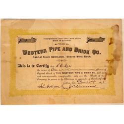 Western Pipe and Brick Company Stock Certificate  107483