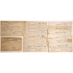 1880s Eureka, Nevada Check Archive Plus Extras  60146