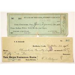 Two Nevada Checks incl. Governor F.B. Balzar  77500