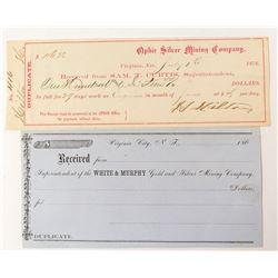 Early Virginia City Mine Receipts  52868