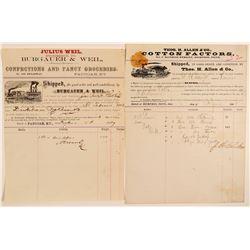Two Sidewheel River Steamboat Pictorial Billheads  104515