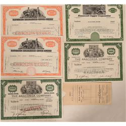 Copper Mining Stock Certificates  108590
