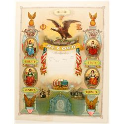 Lithograph Fraternal Order of Eagles  78978
