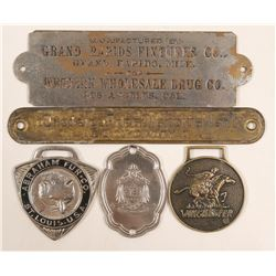 Metal Tags & Watch Fobs / 5 Items.  106272