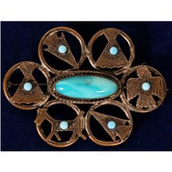 Native Copper Nickel and Turquoise Broach  108286