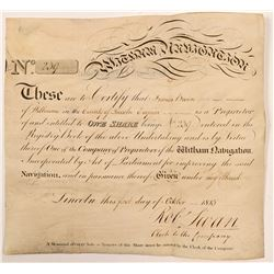 Witham Navigation Co 1813 Stock Certificate  106205