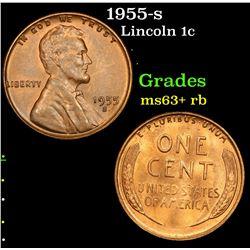 1955-s Lincoln Cent 1c Grades Select+ Unc RB