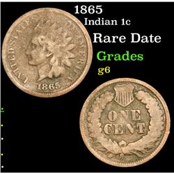 1865 Indian Cent 1c Grades g+