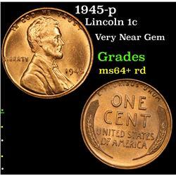 1945-p Lincoln Cent 1c Grades Choice+ Unc RD