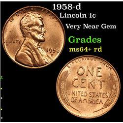 1958-d Lincoln Cent 1c Grades Choice+ Unc RD