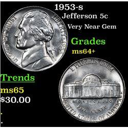 1953-s Jefferson Nickel 5c Grades Choice+ Unc