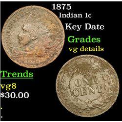 1875 Indian Cent 1c Grades vg details