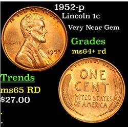 1952-p Lincoln Cent 1c Grades Choice+ Unc RD
