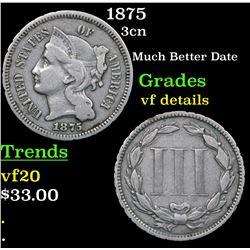 1875 Three Cent Copper Nickel 3cn Grades vf details