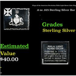 Flags of the American Revolution Phila Light Horse Color Flag .6 oz .925 Sterling Silver Bar Grades