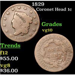 1829 Coronet Head Large Cent 1c Grades vg+