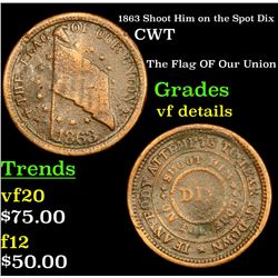 1863 Shoot Him on the Spot Dix Civil War Token 1c Grades vf details