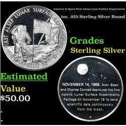 America In Space First Alsep Lunar Surface Experiments 1oz. .925 Sterling Silver Round Grades