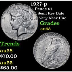 1927-p Peace Dollar $1 Grades Choice AU/BU Slider