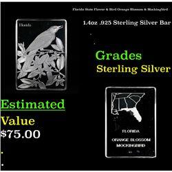 Florida State Flower & Bird Orange Blossom & Mockingbird 1.4oz .925 Sterling Silver Bar Grades