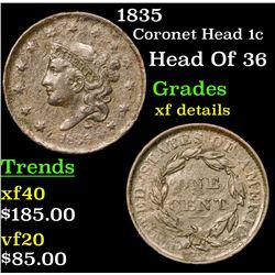 1835 Coronet Head Large Cent 1c Grades xf details
