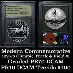 1995-P Olympics Track & Field . . Proof Commem Half Dollar 50c Graded GEM++ Proof Deep Cameo By USCG
