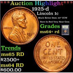 ***Auction Highlight*** 1925-d Mint Error Lincoln Cent 1c Graded Choice+ Unc RD By USCG (fc)