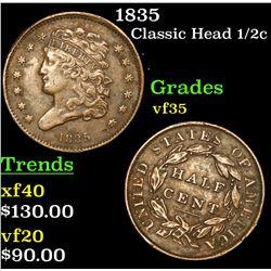 1835 Classic Head half cent 1/2c Grades vf++