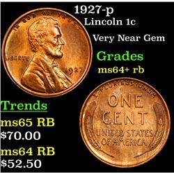 1927-p Lincoln Cent 1c Grades Choice+ Unc RB