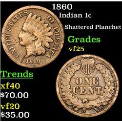 1860 Indian Cent 1c Grades vf+