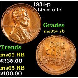 1931-p Lincoln Cent 1c Grades Gem+ Unc RB