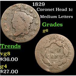 1829 Coronet Head Large Cent 1c Grades g+