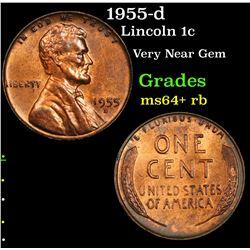 1955-d Lincoln Cent 1c Grades Choice+ Unc RB