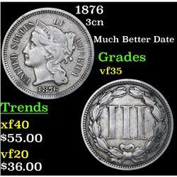 1876 Three Cent Copper Nickel 3cn Grades vf++