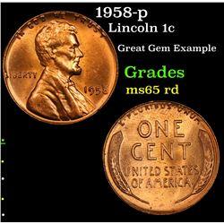 1958-p Lincoln Cent 1c Grades GEM Unc RD