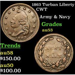 1863 Turban Liberty Civil War Token 1c Grades Select AU