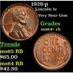 1929-p Lincoln Cent 1c Grades Choice+ Unc RB