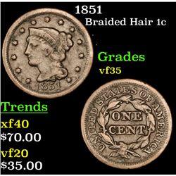 1851 Braided Hair Large Cent 1c Grades vf++