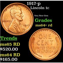 1917-p Lincoln Cent 1c Grades Choice+ Unc RD