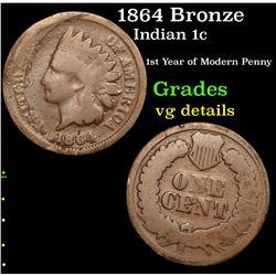 1864 Bronze Indian Cent 1c Grades vg details