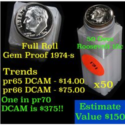 Proof 1974-s Roosevelt Dime 10c roll, 50 pieces (fc)