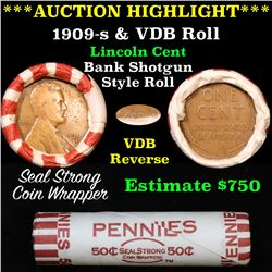 **Auction Highlight** Lincoln Wheat cent 1c orig roll, 1909-s one end,  VDB rev other end, WOW! (fc)